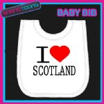 I LOVE HEART SCOTLAND WHITE BABY BIB EMBROIDERED